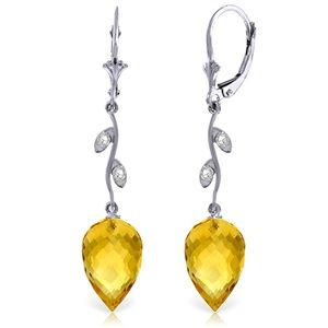 EARRING WITH DIAMONDS & DROP BRIOLETTE CITRINES